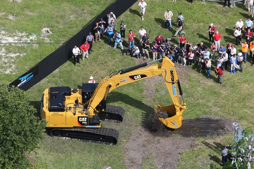 Drivers raced heavy equipment in the DAYTONA Rising 500 at Daytona International Speedway. Trevor Bayne and Greg Biffle earned the right to break ground on the DAYTONA Rising redevelopment project.