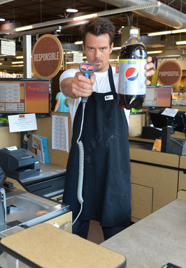 "Josh Duhamel shows what happens when he takes over the cash register to ""check out"" Diet Pepsi customers"
