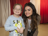 Country artist and Pretty Little Liars actress Lucy Hale and St. Jude patient Tyler played board games during the Country Cares Seminar.