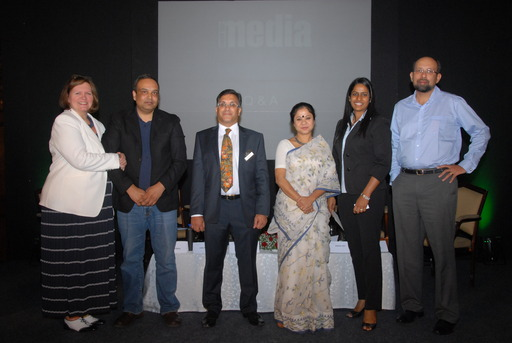 Panel and host (l-r) Lisa Ashworth, Vinay Gupta, Gautam Paul, Sukanya Ghosh, Valerie Pinto, Nikhil Dey