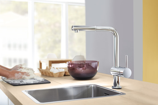 The advanced functionality of GROHE Minta Touch is complemented by its aesthetics. Thanks to the GROHE StarLight® chrome finish the surface will be brilliant and dirt-repellent for many years to come.