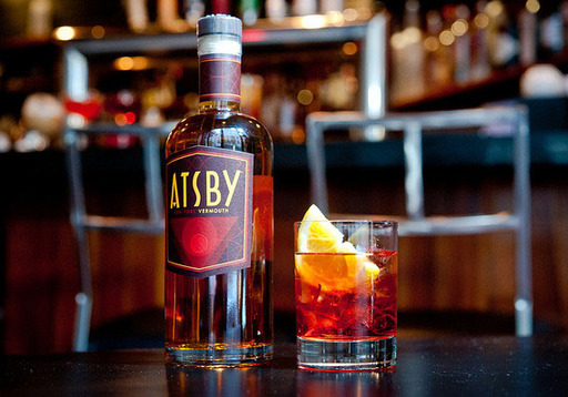 Atsby Vermouth, Armadillo Cake Spritz (Armadillo Cake, lemon soda water, sparkling wine, twist of orange)