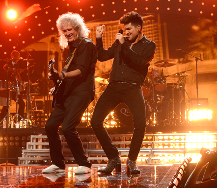 Adam Lambert and Brian May perform onstage during the iHeartRadio Music Festival at the MGM Grand Garden Arena on September 20, 2013 in Las Vegas, Nevada. (Photo by Kevin Mazur/Getty Images for Clear Channel)