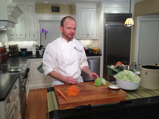 Chef Jimi on set preparing a Hidden Treasure, Sauerkraut