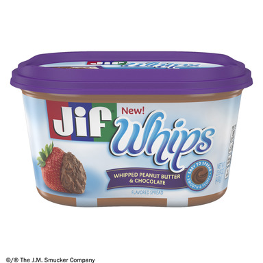 NEW Jif® Whipped Peanut Butter & Chocolate Flavored Spread