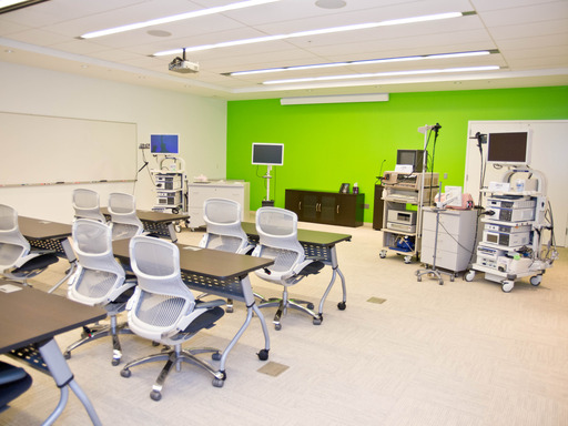 "View from the training classroom ""Enlighten"" which is part of Olympus' new 2,875 square foot modern training facility featuring cutting-edge medical and surgical products."