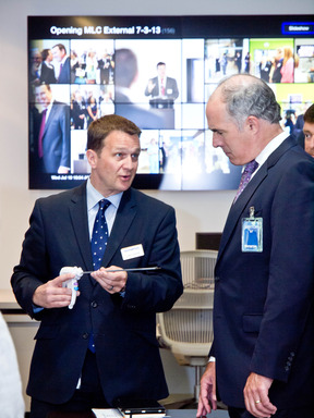 Luke Calcraft, President of the Medical Systems Group, demonstrates the advantages of Olympus' THUNDERBEAT, the world's only fully-integrated ultrasonic and advanced bipolar technology, with Senator Casey.