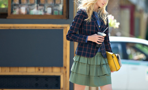 QMack Fall 2013 Collection Plaid Two Button Blazer and Soft Herringbone Tiered Skirt