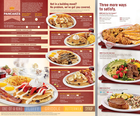 "Denny's ""Build Your Own Pancakes"" menu is back! Choose from signature designs like the Red, White and Blue Pancakes, Peanut Butter Cup Pancakes or make your own #BYOPancakes creation."