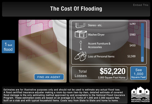 "Cost of Flooding at 12"" = $39,150 in a 2,000 square foot home"