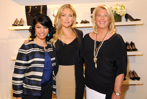 Kate Hudson, Ann Taylor Brand Ambassador, and Kay Krill President and CEO of ANN INC, with ANN power 2012 Grant Winner, Monica Mishra at the Ann Taylor headquarters in New York City