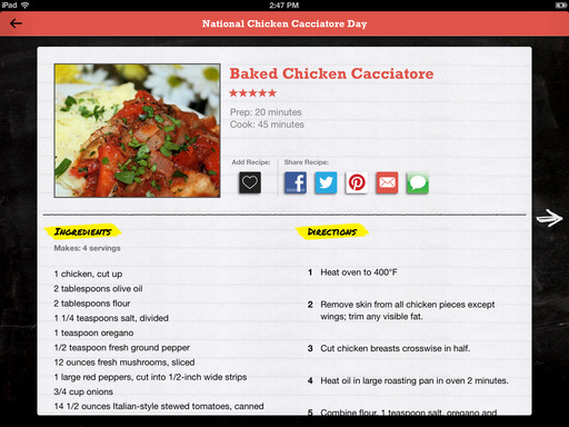 Recipes to celebrate each food holiday are easily accessed and shared in Food.com's Every Day Is a Food Holiday app with convenient social sharing functions.
