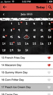 The food holiday calendar as viewed in Food.com's Every Day Is a Food Holiday app for iPhone with bookmarking capabilities.