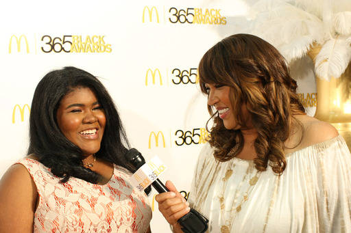 Teen entrepreneur and honoree Leanna Archer talked with golden carpet correspondent Kym Whitley before accepting an Influential Youth award at the 10th annual McDonald's® 365Black® Awards.