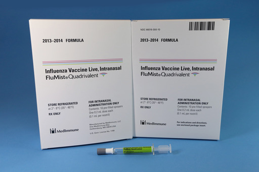 2013-2014 FluMist® Quadrivalent (Influenza Vaccine Live, Intranasal). FluMist Quadrivalent can be used in eligible kids and adults ages 2 through 49.