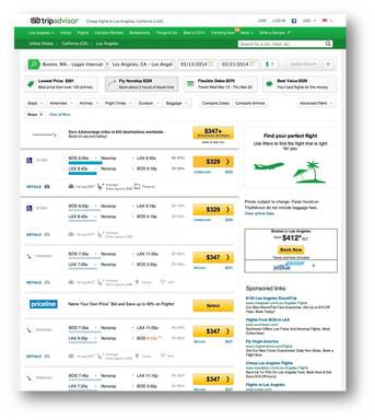 TripAdvisor Flights features amenity info coupled with the ability to scan for the lowest prices for airlines globally.