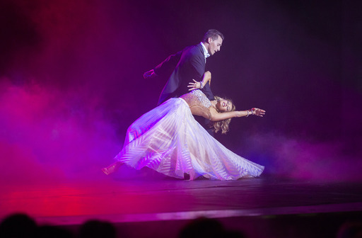 "Professional dancer Kym Johnson performs during the production show of ""Dancing with the Stars: At Sea"" aboard ms Oosterdam on July 7, 2013."