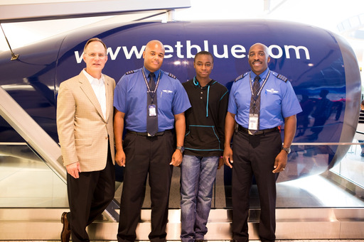JetBlues CEO, Dave Barger welcomed Elijah Hedrington to Terminal 5 for a reunion with mentors Captain Eric Scott and First Officer Jovan OBryant