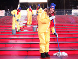 "Times Square gets scrubbed with Mr. Clean Liquid Muscle by ""The Accidental Housewife"" Julie Edelman and a cleaning crew after New Year?s Eve on Jan. 1, 2014 in NYC.  (Photo by Rob Kim/Getty Images)"