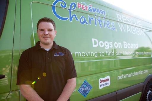 Chance Ray, drives the PetSmart Charities® Rescue Waggin'® vehicle up to 3,000 miles each week to transport dogs and puppies across the country to find their forever homes.