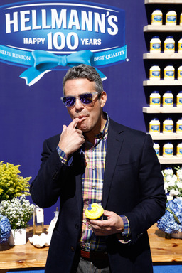"Andy Cohen stops by to say ""bravo!"" to Hellmann's at its 100th Birthday celebration in New York on Sept. 24, 2013."