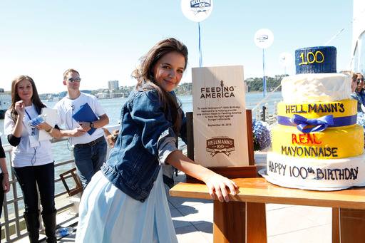 Katie Holmes celebrates Hellmann's 100th birthday with its signature chocolate mayonnaise cake. The centennial celebration benefited Feeding America.