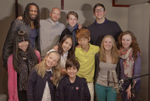 Dwight School students in Roc the Mic Studios with STOMP performer Keith Middleton and two-time Grammy Award winner Mikkel Eriksen