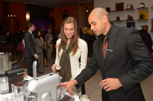 Allison Williams selects her perfect Grand Cru – Caramelito – at the Nespresso Pop-Up Boutique in Grand Central Terminal on Tuesday, October 1, 2013 in New York