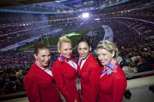 Virgin Atlantic Cabin Crew at the 2012 NFL International Series Game at Wembley Stadium.