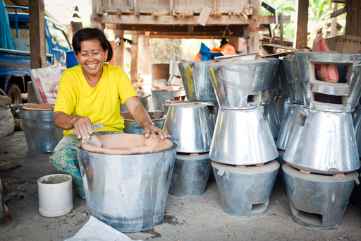 A woman manufactures cookstoves, a growing source of employment in Southeast Asia Photo credit: SNV