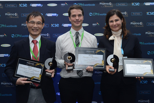 CPhI Pharma Award Winners from left to right: API corporation (for 'Best Innovation in Process Development), Camurus (for 'Best Innovation in Formulation'), and E-Pharma Trento (for 'Best Innovation in Packaging')