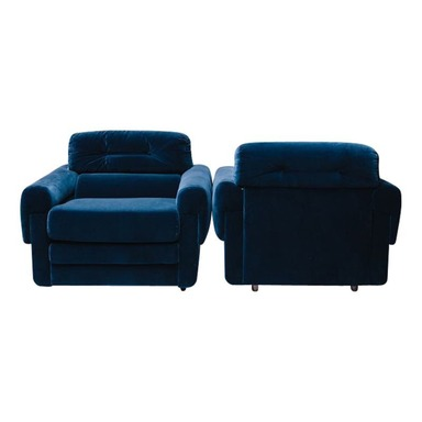 A pair of Large Dark Blue Club Chairs - Pair