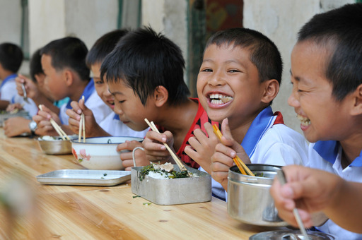 Prior to the Spring Sprouts Kitchens pilot, most rural Chinese schoolchildren ate only rice and dried beans brought from home and cooked in boiling water.