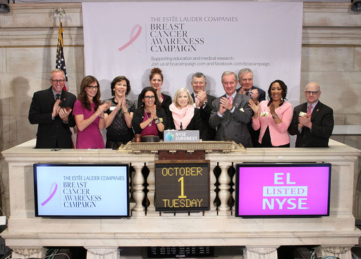 "The Estée Lauder Companies Inc. rings the opening bell at the NYSE on 10/1 to launch The 2013 Breast Cancer Awareness Campaign,""Let's Defeat Breast Cancer. We're Stronger Together.""(Photo: Ben Hider)"