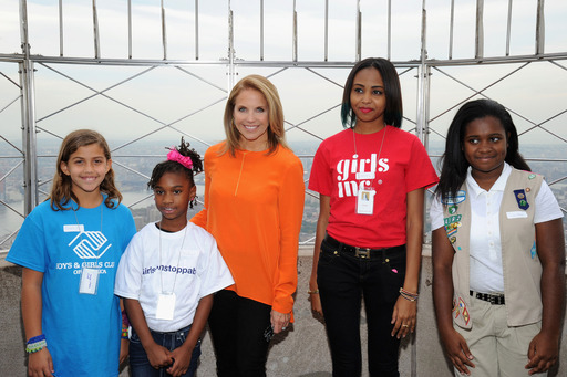Dove and Katie Couric Take Unstoppable Girls to the Top of the Empire State Building for the 4th Annual Dove Self-Esteem Weekend (Oct 4-6), a national effort to reach 15 million girls by 2015 with self-esteem programming.(Photo by Ilya Savenok/Getty)