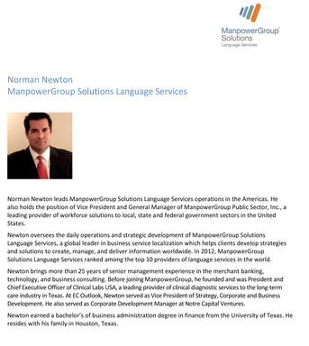 Norman Newton, leader of ManpowerGroup Solutions Language Services – Americas