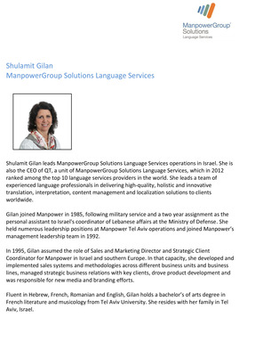 Shulamit Gilan, leader of ManpowerGroup Solutions Language Services – Israel