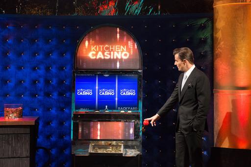 Host Bill Rancic and Kitchen Casino Slot Machine