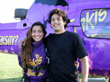 "MaryJo Villar, winner of the Takis Airdrop ""Face the Intensity"" photo contest poses with Paul Rodriguez prior to skydiving into the Takis Airdrop exclusive party in Pomona CA."
