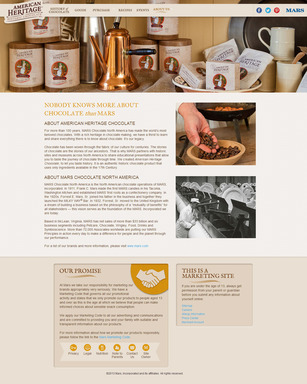 "Additional information about American Heritage Chocolate programs can be found in the ""About Us"" section of the website"
