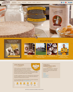 The homepage welcomes visitors with imagery of new product packaging and features shortcuts to all sections to the website