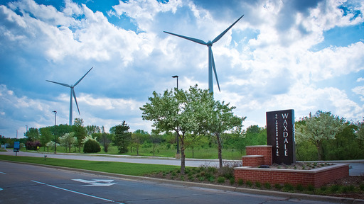 Two new 415-foot-tall wind turbines at SC Johnson's largest global manufacturing facility, Waxdale, produce about eight million kWh of electricity and cut 6,000 metric tons of GHGs per year.