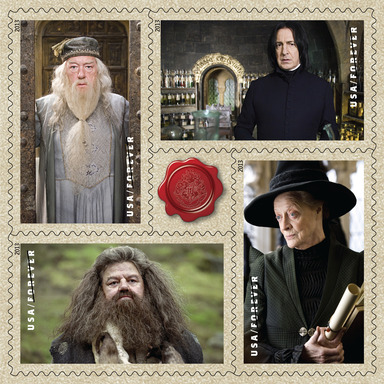 One of five panes depicting characters from the U.S. Postal Service's Harry Potter limited-edition Forever postage stamp collection.