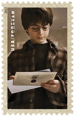 The U.S. Postal Service unveiled 20 limited-edition Forever stamps featuring images from Warner Bros.' Harry Potter films, including one of Harry receiving his acceptance letter from Hogwarts.