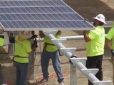 B-roll: Final panel installation and finished solar arrays at California Valley Solar Ranch