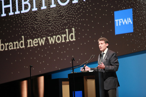 Olympian Lord Sebastian Coe addresses the TFWA World Exhibition Conference
