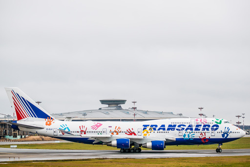 Transaero's Boeing 747-400 aircraft in a special livery at Vnukovo airport