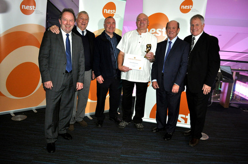 #StillGotIt football winner David McDonald, 63, with his heroes Jimmy Case, Ron 'Chopper' Harris, Joe Royle, Howard Kendall and Mike Summerbee