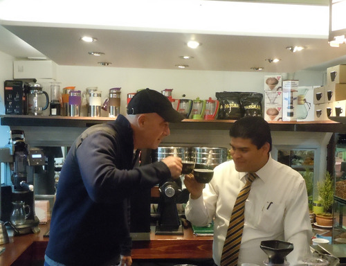 Todd Carmichael samples a variety of Mexican coffees with old friend and barista champion Salvator Benitez