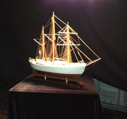 """Miracle Car, Glass Armonica, Yankee Spy""_American Yacht Club in Rye, New York_A model ship showcases an innovative design that was used by a courageous explorer to battle the elements in his attempt to reach one of Earth's harshest environments."